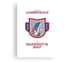 Patriots Day Greeting Card American Patriot Holding Up USA Flag Canvas Print