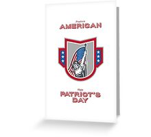 Patriots Day Greeting Card American Patriot Holding Up USA Flag Greeting Card