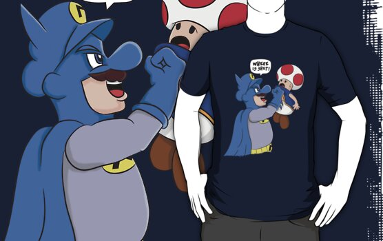Where is she!? - Mario/Batman Shirt by Oliver Fox