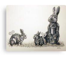 Clockwork Rabbits illustration by Ethan Yazel Canvas Print