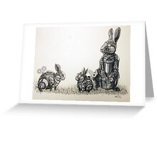 Clockwork Rabbits illustration by Ethan Yazel Greeting Card