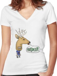 Hurtdeer Mask tshirt Women's Fitted V-Neck T-Shirt