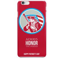 Patriots Day Greeting Card American Patriot Soldier Waving Flag iPhone Case/Skin