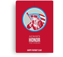 Patriots Day Greeting Card American Patriot Soldier Waving Flag Canvas Print