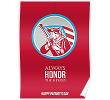 Patriots Day Greeting Card American Patriot Soldier Waving Flag Poster