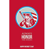 Patriots Day Greeting Card American Patriot Soldier Waving Flag Photographic Print
