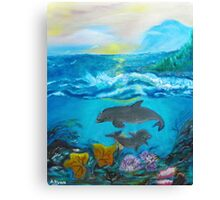 Dolphins In The Ocean Canvas Print