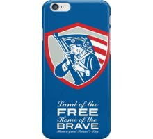 Patriots Day Greeting Card American Patriot  Waving Flag Shield iPhone Case/Skin