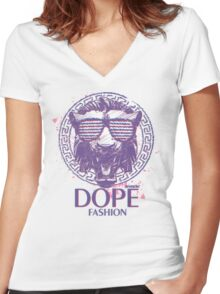 3D-DOPE FASHION!!! VERSACE INSPIRED!!! :D Women's Fitted V-Neck T-Shirt