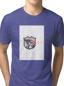 Memorial Day Greeting Card Patriot Holding American Flag Tri-blend T-Shirt