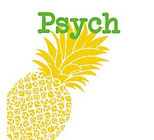 Minimalist Psych TV Show Pop Culture Lime Yellow Fun Green Pineapple Photographic Print