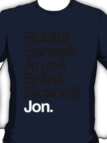 Game of Thrones: Stark Children Names T-Shirt