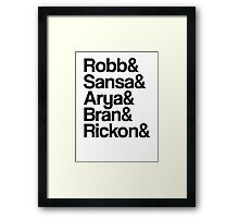 Game of Thrones: Stark Children Names Framed Print