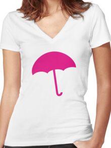 Umbrella Women's Fitted V-Neck T-Shirt
