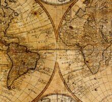 Old vintage world's map Sticker