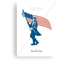 Patriots Day Greeting Card American Patriot Soldier Flag Marching Canvas Print