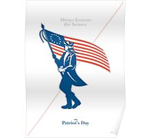 Patriots Day Greeting Card American Patriot Soldier Flag Marching Poster