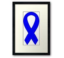 Blue Awareness Ribbon Framed Print