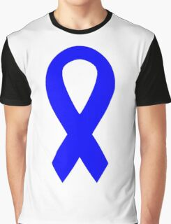 Blue Awareness Ribbon Graphic T-Shirt