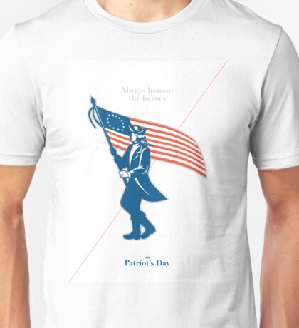 Patriots Day Greeting Card American Patriot Soldier Flag Marching Unisex T-Shirt