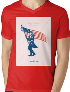 Patriots Day Greeting Card American Patriot Soldier Flag Marching Mens V-Neck T-Shirt