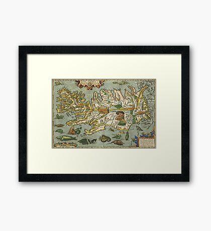 Iceland Map 1590 Framed Print