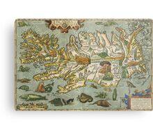 Iceland Map 1590 Metal Print