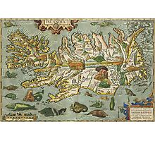 Iceland Map 1590 Photographic Print