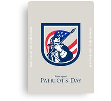 Patriots Day Greeting Card American Patriot  USA Flag Look Up Crest Canvas Print