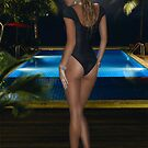 Liz pool side on a moon lit evening  by Swede