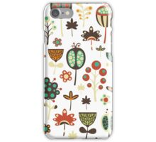 Cute Retro Stylized Flowers Seamless Pattern iPhone Case/Skin