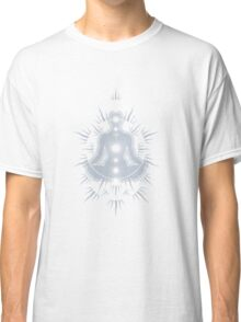 Yoga pose Neutral Blue-White Classic T-Shirt