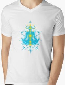 Yoga pose Sky Blue-Yellow Mens V-Neck T-Shirt