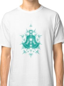 Yoga pose Turquoise-White Classic T-Shirt
