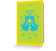 Yoga pose Sky Blue-Lime-Yellow Greeting Card
