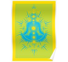 Yoga pose Sky Blue-Lime-Yellow Poster