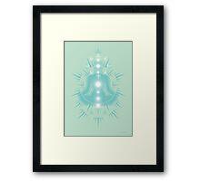 Yoga pose Soft seafaom teal-Pastel green-White Framed Print