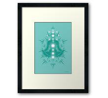 Yoga pose Turquoise-Soft seafoam teal-White Framed Print