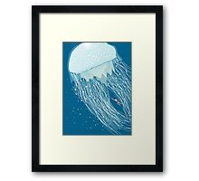 Swimming with the jellyfish Framed Print