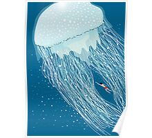 Swimming with the jellyfish Poster