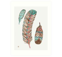 Feathers 3 Peach and Blue Art Print