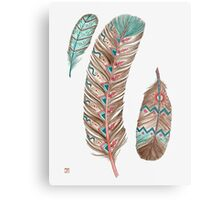 Feathers 3 Peach and Blue Metal Print