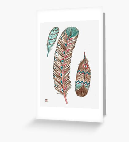 Feathers 3 Peach and Blue Greeting Card