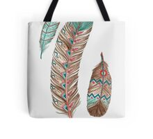 Feathers 3 Peach and Blue Tote Bag