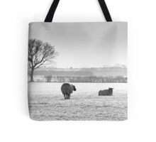 Snow scene with sheep Tote Bag