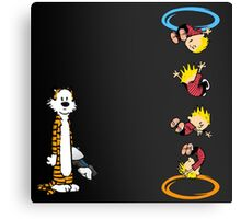calvin and hobbes teleport  Canvas Print