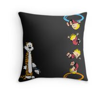calvin and hobbes teleport  Throw Pillow