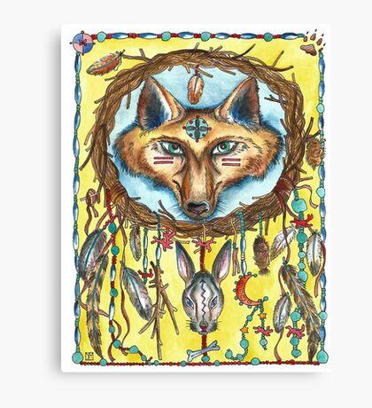 Fox and Hare Dreamcatcher Canvas Print
