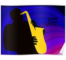 Silhouette of a Jazz Saxophone Player, Purple Blue Background Poster