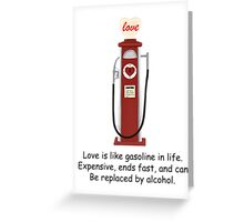 Retro Red Love Gas Pump with a Funny Love Quote Greeting Card